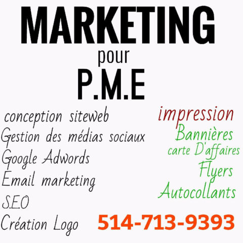 Marketing pour pme , impression carte d'affaires, flyers , etc