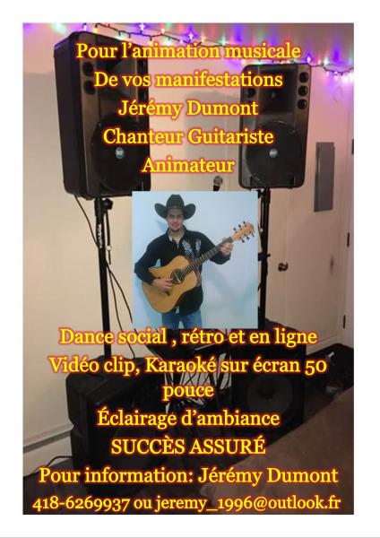 Animation party à ville de québec jérémy dumont chanteur, animateur et guitariste