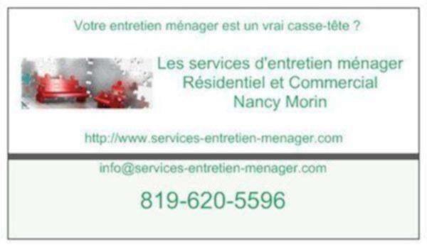 image annonce Les Services d'Entretien M�nager � Sherbrooke - Nancy Morin