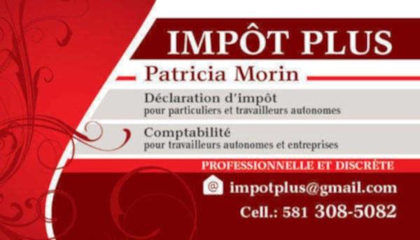 $$$ IMPOTPLUS ET COMPTABILITÉ PATRICIA MORIN - VILLE DE QUÉBEC