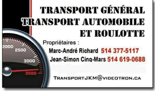 Transport général (roulotte. flat bed. auto. camion. machine. vehicule)