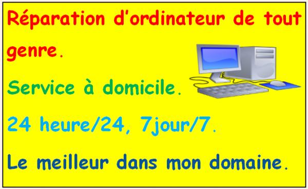 image annonce Réparation ordinateur à Montréal   24/24, 7j/7  A DOMICILE ET A DISTANCE.