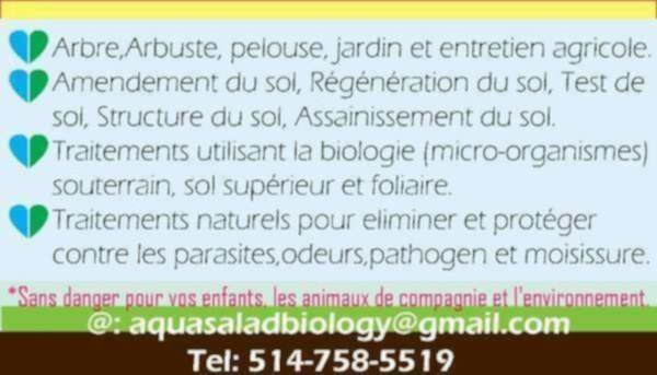 Paysagiste-maintenance & amendement des sols+traitment biologic