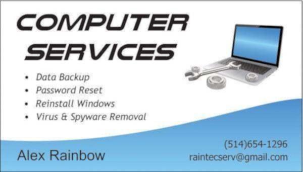image annonce Services informatiques / Réparation de laptop / Élimination de virus / Sauvegarde des données