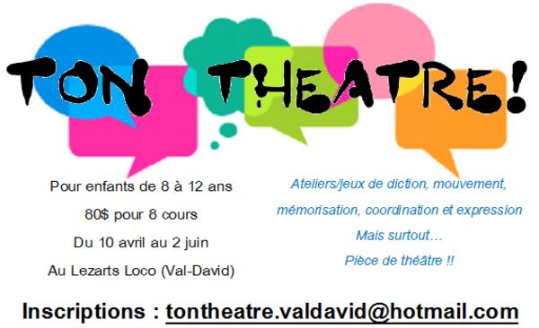 Formation cours de théâtre pour enfants à val-david